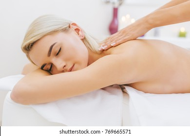 close-up shot of beautiful young woman getting massage