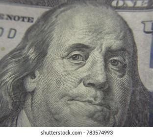 Closeup shot of Benjamin Franklin on 100 hundred dollar bill