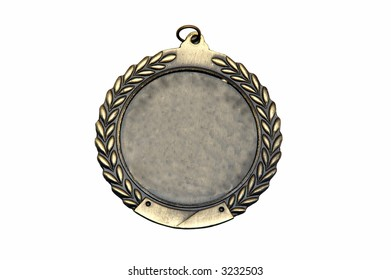 Closeup shot of a blank medal isolated against a white background