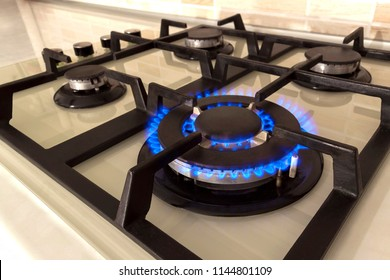 Closeup shot of blue fire from domestic kitchen stove top. Gas cooker with burning flames of propane gas. Industrial resources and economy concept.