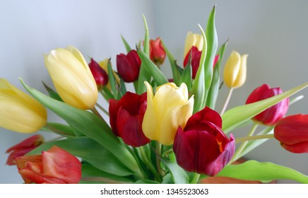 close-up shot of bouquet of yellow and red tulips
