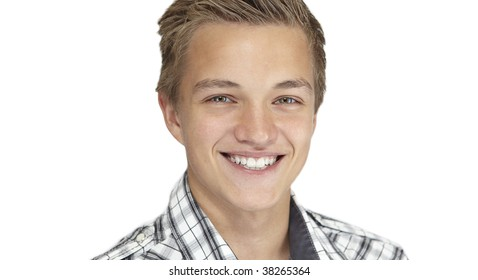 A close-up shot of a boy smiling ,isolated on light white