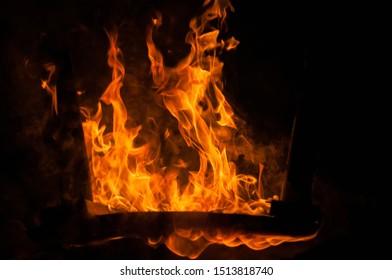 Closeup shot of camp fire and burning coal