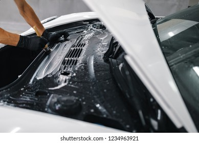 Closeup shot of a car detailed cleaning