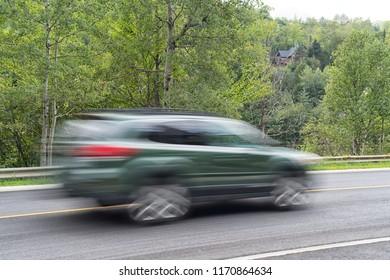 Closeup shot of a car in motion