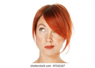 close-up shot of a caucasian beautiful woman