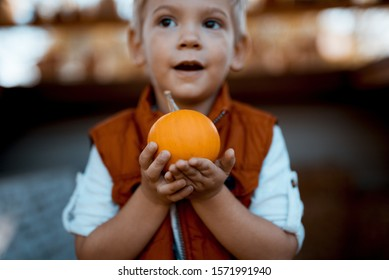 A closeup shot of a child holding a small pumpkin with a blurred background