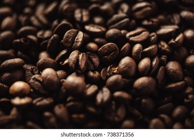 Closeup shot of coffee beans with select focus and blur background