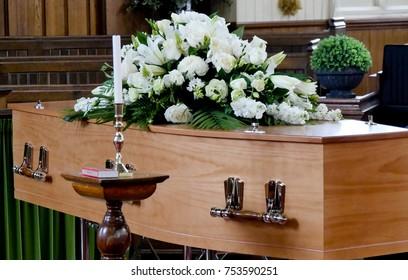 closeup shot of a colorful casket in a hearse