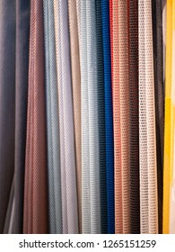 Close-up shot of colorful fabric samples