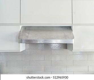 Closeup shot of commercial grade under cabinet kitchen range hood