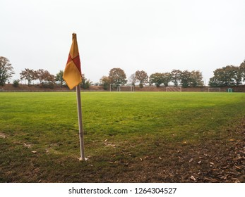 close-up shot of Corner flag of Rural soccer pitch in Germany