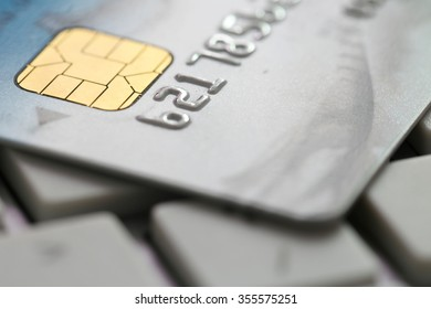 Closeup shot of credit card on the keyboard.