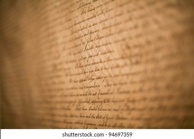 Close-up shot of Declaration of Independence of USA