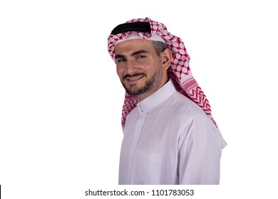 Close-up shot of a face of khaleeji man smiling in a side shot, isolated on a white background.