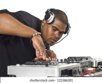 Close-up shot of a fat Disc Jockey playing music