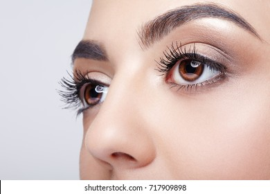 Closeup shot of female eye with day makeup eyes shadows