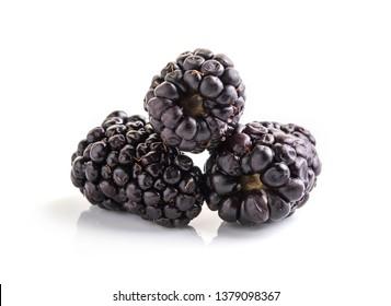 Closeup shot of fresh blackberries. Isolated on white background.