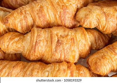 Closeup shot of fresh French croissants