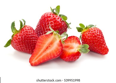 Closeup shot of fresh strawberries. Isolated on white background.