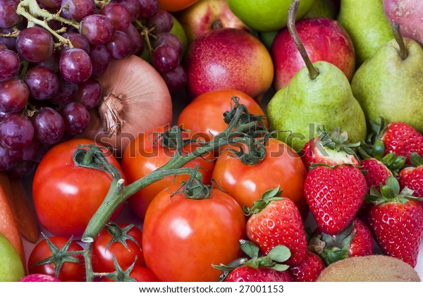 Close-up shot of fruits and vegetables.