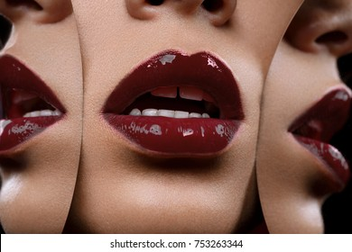 closeup shot of full sexy woman lips with red lipstick with mirror reflections. copyspace.