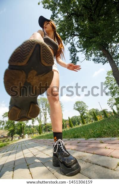 Closeup Shot Girls Shoes Big Boots