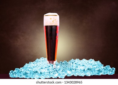 close-up shot of a glass of dark beer on ice in front of the dark background