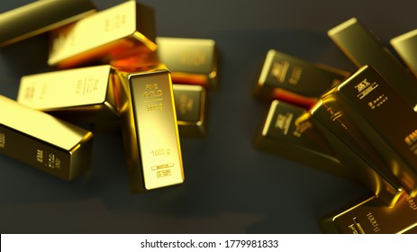 A closeup shot of gold bullions on a black background - wealth business success concept