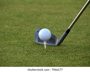 Closeup shot of a golf club just before shooting