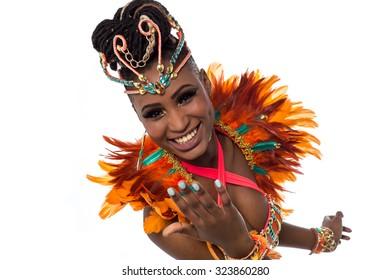 Closeup shot of a gorgeous female samba dancer