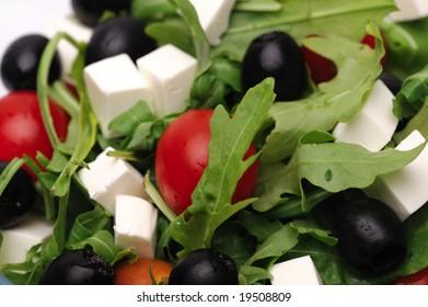 Close-up shot of greek salad