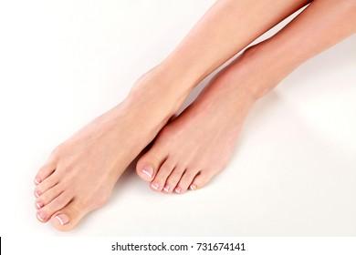 Closeup shot of healthy beautiful female feet
