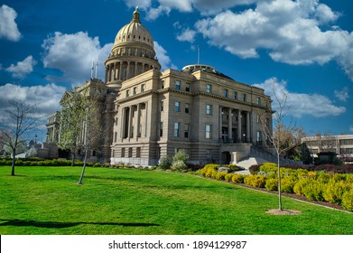 A closeup shot of the Idaho State Capitol Building