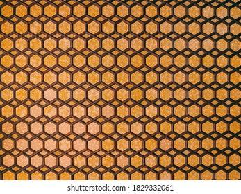 A closeup shot of an idyllic Moroccan ceiling art