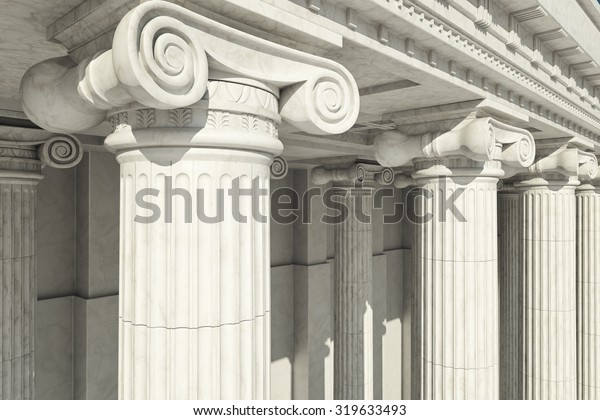 Close-up shot of a line of Greek-style columns.
