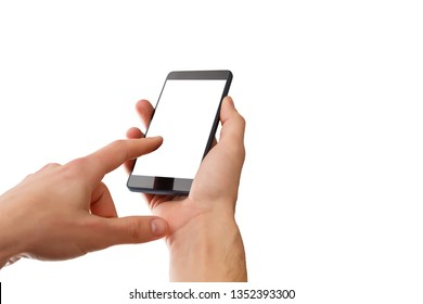 Closeup shot of a man typing on mobile phone isolated on white background.. Girl's hand holding a modern smartphone and pointing with figer. Blank screen to put it on your own webpage or message