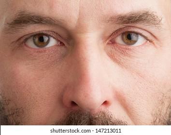 Closeup shot of a mature man's face.