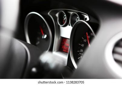Close-up shot of modern car dashboard