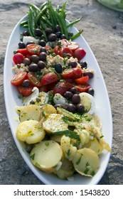 A closeup shot of a nicely arranged Salad Nicoise on a large stone
