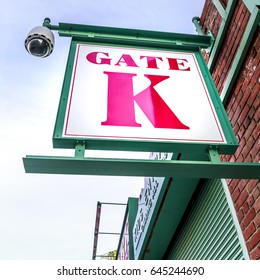 Close-up shot of one of the Fenway Park Stadium Gate signs in Boston, Massachusetts, USA.