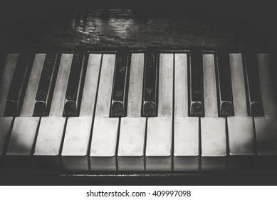 Closeup shot of piano keys