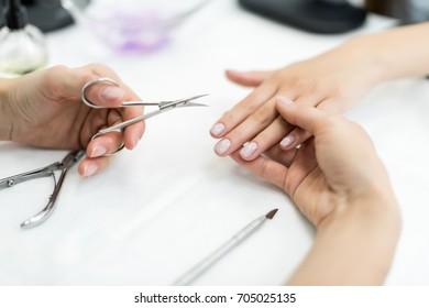 close-up shot of professional manicure procedure