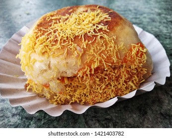 closeup shot of Pune famous snack DABELI