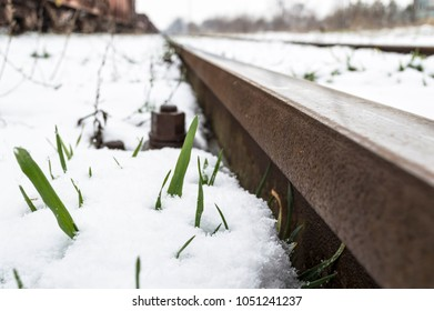 A closeup shot of a railroad during the winter time.