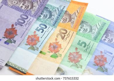 Closeup shot of Ringgit Malaysia banknotes