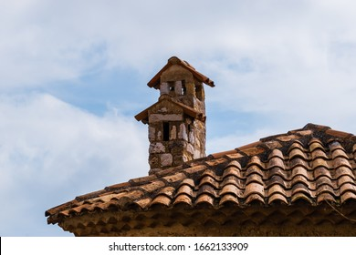 The close-up shot of a rooftop in the old town center of a French village Èze (Côte d'Azur)