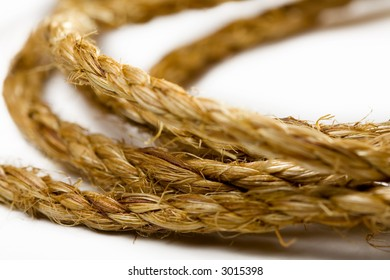Close-up shot of a rope. Isolated white background