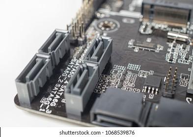 Closeup shot of SATA ports on a computer motherboard