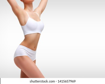 Closeup shot of sexy female body. Liposuction, diet and healthy lifestyle, weight loss and wellness concept